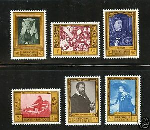 Belgium Complete MNH Set #B625-630 Paintings Stamps