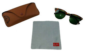 Authentic Ray-Ban Clubmaster Brown Gold Frame/Green Lens Sunglasses