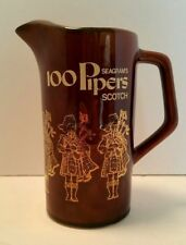 Vintage Seagrams 100 Pipers Scotch Whiskey Jug Bar Pub Pitcher (Empty)