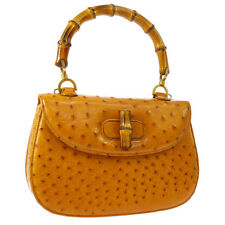 GUCCI Bamboo Line Hand Bag Brown Ostrich Leather Italy Vintage NR12961h