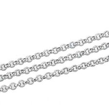 "10M Silver Tone Stainless Steel Link-Opened Rolo Chain For Bracelet 2.5mm(1/8"")"