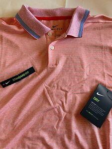 Men's Nike Golf Polo Dri-Fit New Orange Stripes Large L XL Tee Shirt NWT $75