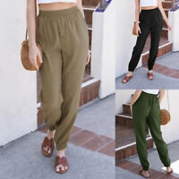 ZANZEA Femme Décontracté lâche Taille elastique Simple Casual Pantalon Plus