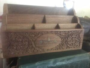 Vintage Wooden Hand Carved Letter Holder Desk Organiser