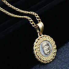 "14k Gold Pl Stainless Steel JESUS Face Medallion Pendant / 3mm  24"" Cuban  Chain"