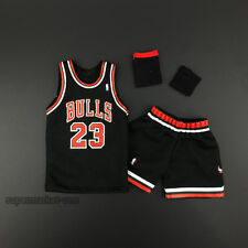 1/6 Chicago Bulls #23 Michael Jordan Black Throwback Swingman Basketball Jersey