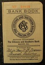 1927 DEPOSIT BANK BOOK-THE CITIZENS AND SOUTHERN BANK, MACON, GA.