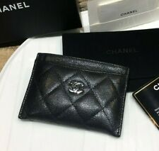 AUTH CHANEL BLACK CAVIAR LEATHER QUILTED CARD CASE HOLDER SIVLER CC LOGO