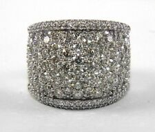 Round Cluster Diamond Pave Dome Cigar Ring Band 14k White Gold 3.90Ct