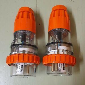 2x Clipsal 56P332 - 32A 32amp - Single Phase - 3 Pin Round Straight Plug
