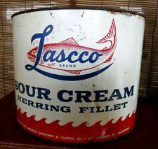 "Vtg 1950's Lascco Sour Cream Herrings old Advertising Tin Can 8"" Diameter Fish"
