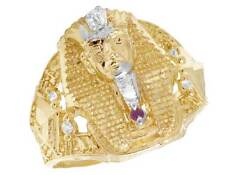 Real 10K Yellow Gold Simulated Ruby Diamond Mens Pharaoh Fashion Pinky Ring 21MM