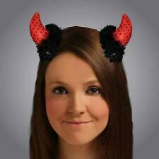 Deluxe Clip On Sequin Devil Horns Halloween Ladies Fancy Dress