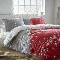 Stars Festive 100% Brushed Cotton Flanelette Thermal Duvet Cover Bedding Set