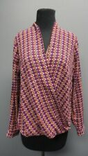 5f649a3bccb PLEIONE Purple Geo Print V Neck Long Sleeves Casual Blouse Top Sz S GG0531