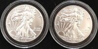2016 & 2019 SILVER EAGLES, Both From Newly Opened Rolls of 20, *NO SPOTTING*