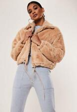 Missguided Tan Cropped Faux Fur Bomber Jacket - Size: 10