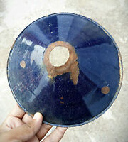 VINTAGE RARE IRON PORCELAIN ENAMEL COBALT BLUE LAMP SHADE
