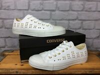 CONVERSE LADIES UK 8 EU 41.5 WHITE GOLD STUD ALL STAR LOW TRAINERS CHUCK TAYLOR