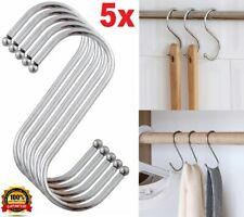 5 STRONG CHROME BALL ENDED S HOOKS Utility Room/Laundry/Rail Storage Hanging