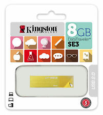 Kingston DTSE3 8GB DataTraveler SE3 USB 2.0 Thumb Stick Flash Memory Pen Drive