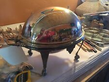 Antique C.1880 English Silver Plated Revolving Vegetable Tureen,Wm.Hutton