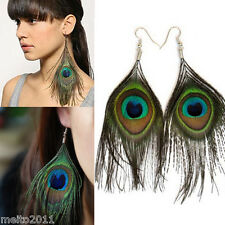 Fashion Genuine Creative Natural Peacock Feather Dangle Long Earrings Big Eye