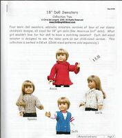 """18"""" Doll Sweaters #2 to knit Clothing Knitting Pattern KNOON fits American Girl"""