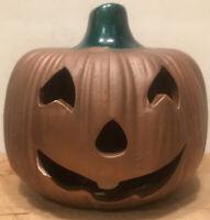 Vintage Halloween Earthenware Pumpkin Jack O' Lantern Ceramic Candle Holder