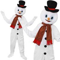 ADULTS SNOWMAN MASCOT COSTUME PLUSH BIG HEAD FANCY DRESS ALL IN ONE JUMP SUIT
