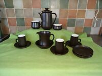 Vintage Honiton Pottery Coffee Tea set with 2 cups brown pottery