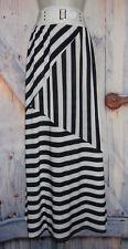 "women's size *S (24"") Black & White Striped Maxi Skirt"
