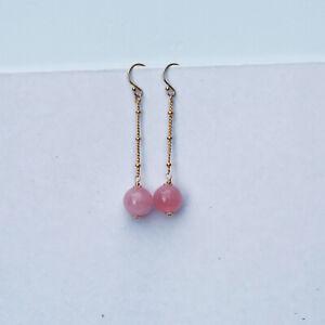 AD92 Elegant Natural Rose Quartz 10mm bead Earrings/tassel 14KGF Original works