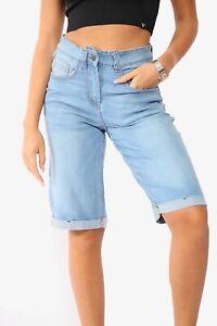 New Ladies Womens Super Stretch Long 3/4 Length Denim Shorts