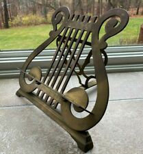 Vintage Brass Lyre Harp Sheet Music Stand Adjustable Tilt Tabletop Recipe iPad