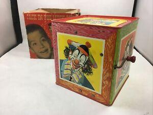 Vintage Mattel Jack in the Box Music Box 1950s Tin Litho with Original Box