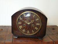 Vintage 1950's Smiths Enfield Oak Mantel Clock Roman Numerals (Key & Pendulum)