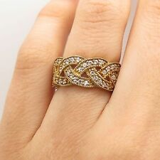 925 Sterling Silver Gold Plated C Z Braided Design Wide Band Ring Size 5.5