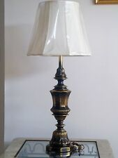 Large Heavy Antique Solid Lacquered Brass Heavy Trophy Style Electric Table Lamp
