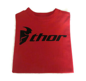 BNWT Thor Men's Red Black Logo Crew T-shirt Top Cotton Made in USA Size M