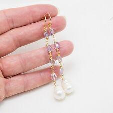 Orecchini ametista e grandi perle placcati oro giallo gioielli pietre naturali