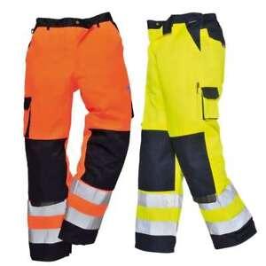 Mens HI VIS Contrast Work Trousers Knee Pad Pockets Half Elastic Waist