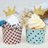50x Gold Crown Cupcake Toppers Pics De Fête De Maria I ZH