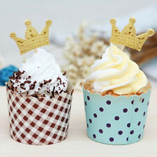 50x Gold Crown Cupcake Toppers,Wedding Picks,Party Picks,Food Pick Cake Decor BR