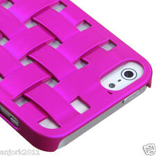 Apple iPhone 5 3D Weave Lines Back Cover Hard Case Accessory Hot PInk
