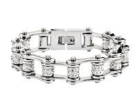 Women's Stainless Steel Silver Double Bling Bike Chain Bracelet USA Seller!