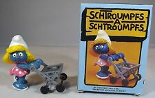 VINTAGE 1980s in scatola SCHLEICH PEYO SUPER SMURF SMURFETTE Trolley #40227 SHOPPING