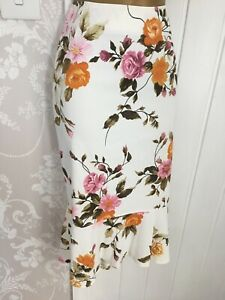 Karen Millen Cream Foral Frill Skirt Uk 12