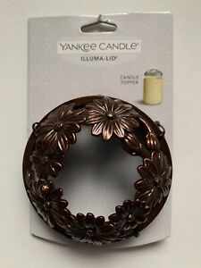 YANKEE CANDLE COPPER COLORED LADYBUG & DAISY ILLUMA-LID JAR CANDLE TOPPER NEW
