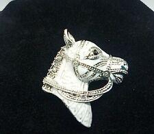Enamel Horse Head Brooch pin White enamel silver cream War stallion Crystal